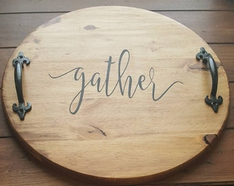 Rustic Round Wood Serving Tray