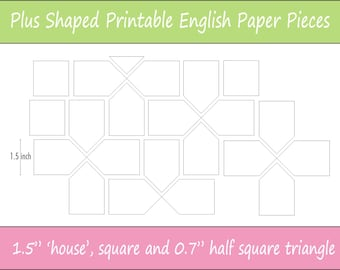 "1.5"" Printable Plus Shaped Pieces for English Paper Piecing 