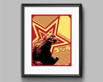 Godzilla propaganda poster Art Print - japanese, kaiju, monster