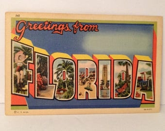 ON SALE Vintage 1942 Linen Postcard Greetings From FLORIDA Wwii Era Souvenir 1940's