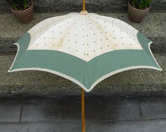 Antique Parasol Umbrella with wood handle restored with mostly original fabric included, green dots circa 1890