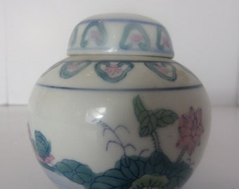 Pink, Blue & Green Decorated Chinese Ginger Jar