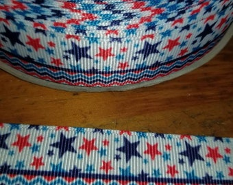 Stars, Red, white, and blue ribbon, Patriotic,  Americana, 4th of July grosgrain ribbon  7/8 wide