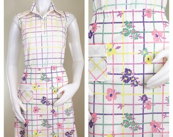 70s Seaton Hall White Purple Plaid Sleeveless Top and Matching A-line Skort Tennis Set, Size Medium