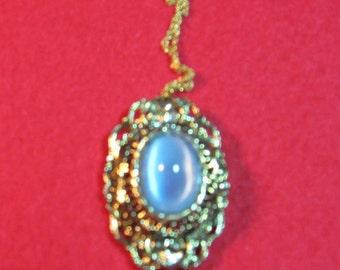 Vintage Pale Blue Cabachon Necklace