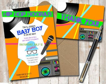 Personalized Old School Hip Hop Baby Shower Invitation w/ BONUS Thank You Card! Throwback Neon 80s - Digital File