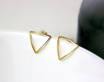 Gold plated earrings A12 triangle-