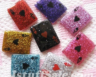 Glitter playing cards 8 pcs mixed color set (W19)