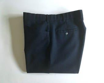 Vintage Men's 80's Levi's Action Slacks, Navy Blue, Pants, Polyester, Straight Leg (W36)