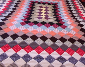 vintage quilt top,unfinished,twin/full size,84 x 77,multi color,multi pattern,hand sewn,1970s polyester fabric,eclectic,OOAK,home decor