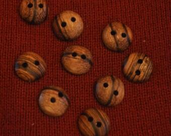 """5/8"""" African Zebrawood- Handmade - 9 Buttons"""
