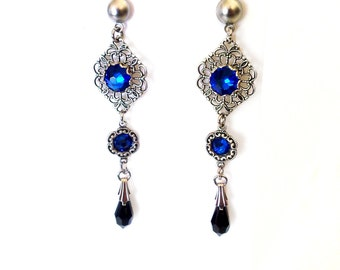 Victorian Gothic Earrings Swarovski Post Earrings Jet Black Capri Blue Gothic Jewelry