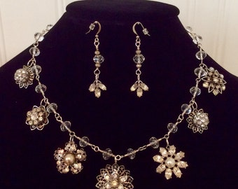 Repurposed vintage pearl and crystal earring necklace set. Handwired silver metal and crystal chain.