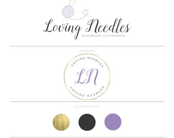 Knitting Logo Sewing Logo Crochet Logo Heart Logo Seamstress Logo Gold Logo Branding Package Yarn Logo Craft Logo Design Boutique Logo