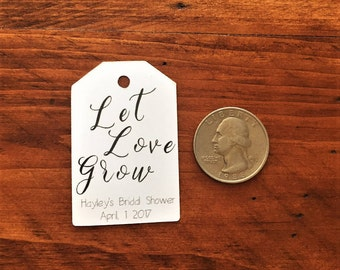 Let Love Grow Tags, Custom Bridal Shower or Wedding Favor Tags, Seed Packet Favor Tags, Succulent Favor Tag