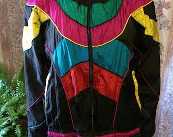 Colorful vintage nylon windbreaker jacket