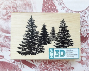 Christmas Pine Tree 3D Shading Wood Mounted Rubber Stamp By Spellbinders  Scrapbooking & Paper Craft Supplies