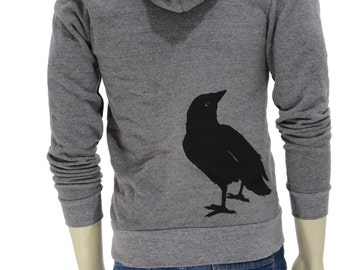 Crow - Full Zip Soft Fleece Hoodie - Raven Bird