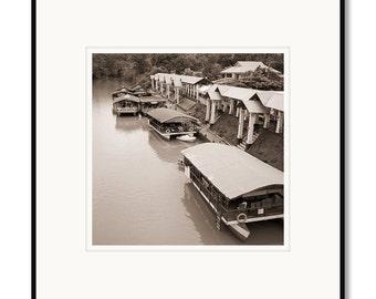 Black and white photography, sepia prints, Philippines, Bohol island, Loboc River boats, tropical island, river restaurant, Loboc village