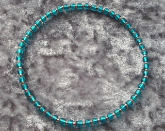 Teal Seed Bead Stretch Anklet