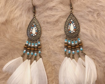 Bohemian style beaded white feather earrings
