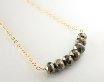Pyrite Necklace, Gold Pyrite Necklace, Semi-Precious Gemstone Necklace, Gemstone Bar Necklace, Charcoal Gray Stone Necklace, Gold Grey