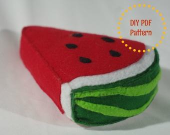DIY PDF Pattern - Realistic Waldorf Inspired, Felt Watermelon Slice Play Food plush toy for Kids