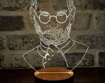3D Steve Jobs Lamp, the best gift, personalizated lamp, gift for her, gift for his, gift idea, acrylic lamp, 3d illusion light,desk lamp