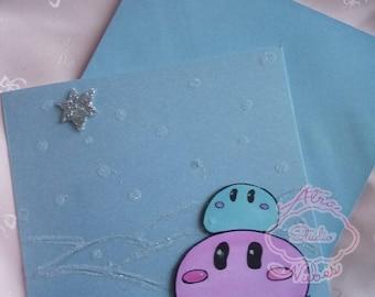 Dango Snowfield - Handmade OOAK Greeting Art Card - Christmas