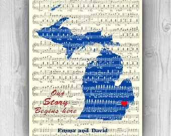Valentine Gift, Wedding Gift, Personalized Valentine, personalized gift, Michigan State sheet music, lover print, our story begins here