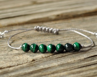 Malachite Yoga Bracelet, Heart Chakra, Throat Chakra, Gemstone Therapy, Meditation Bracelet, Energy Bracelet, Protection