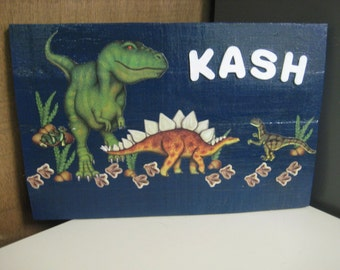 Personalized Dinosaur Wood Sign