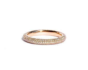 18k Rose Gold Pave Five Row Diamond Eternity Ring/Band