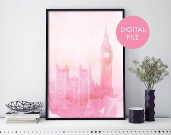 London Art, Big Ben Watercolour Print Wall Art | Print At Home | Digital Download File