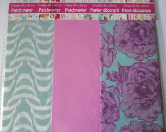 mixed 3 x large sheets paper decopatch 40 x 60 cm in pattern/plain pink