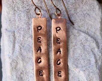 Engraved Earrings - Copper Earrings - Earrings - Personalized Earrings - Custom Earrings - Handmade Earrings - Dangle Earrings - Gifts
