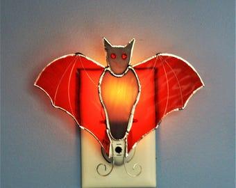 Orange Winged Bat Stained Glass Light Sensor Night Light Nursery Kids Elderly Rooms