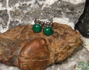 Green Malachite 6mm Stud Post Earrings Earings Titanium Ear Post and Clutch Hypo Allergenic