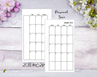 Personal | Jun-Dec | Printed | 2018 | MO2P | Month on 2 pages | Planner | Insert | Filofax | Kikkik