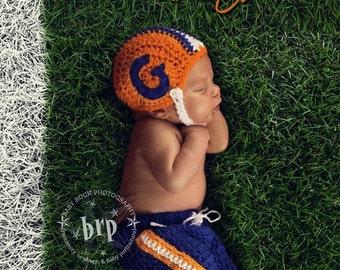Baby Boy Prop/Newborn Football Player Prop/ Crochet Newborn Football Helmet / Newborn Team Football Set/ Custom Colors/
