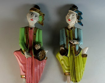 Pair of Carved Wooden Middle Eastern Figures in Folk Attire