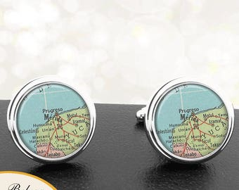 Map Cufflinks Merida Mexico Handmade Cuff Links Mexican City Maps Groomsmen Weddings Fathers Dads