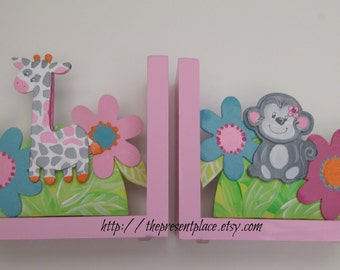 Bright colorful bookends for kids, personalized,flowers,monkey,giraffe,pink,turquoise,gray,grey,girl's bookends, children's bookends