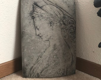 Concrete Bust of Grecian/Roman/Classical Woman Lady with Crown