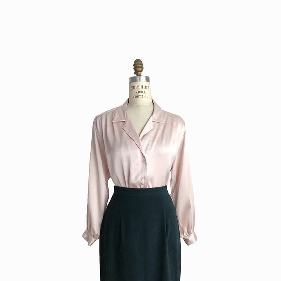 Vintage 90s Blush Satin Blouse with Crinkle Texture / Pleated Blouse / Blush Pink  - women's small