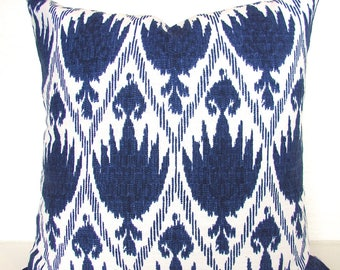 BLUE PILLOWS Navy Blue Throw Pillows Ikat Blue Throw pillow Covers 16 18x18 Sale. Dark Blue Pillow Covers Home and living Home Decor .Sale.