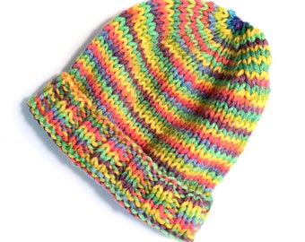 Childs Knit HAT - Handknit Spring Colors Striped Variegated Acrylic Yarn - Rainbow - Small