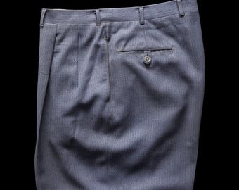 40s 50s Blue Gray Heather Wool Trousers