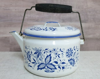 Vintage Porcelain Enamelware Tea Kettle White and Blue Floral Enamelware Teapot Primitive Porcelain Enamel Tea Kettle - V306