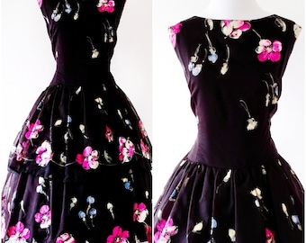 Vintage 1950's Hand Painted Dress | Vintage 1950's Fit and Flare Dress |